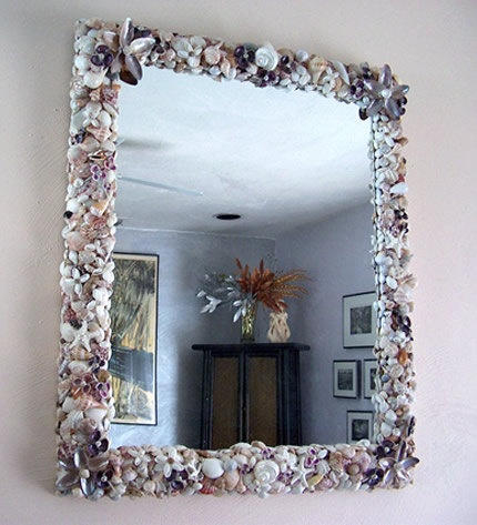 Sea Shell Mirror   Framed Mirror with by EssentialMatters on Etsy, $475.00