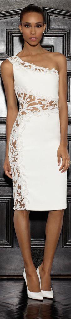 Lorena Sarbu 2015 Resort Collection - half shoulder white lace embellished dress