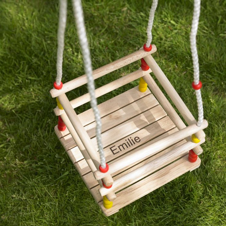 Personalised Wooden Kids Swing  The ropes are synthetic which makes them durable, they are also height adjustable.  This swing can be easily attached to an existing swing frame, or a tree with swing hooks.