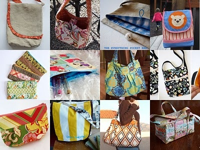 tutorial links - Ruffled Messenger Bag, Reversible Tie-Top Bag, Everything Pocket Bag, Gathered Clutch, Simple Zippered Pouch, Hobo Bag, Foldover Bag, Pleated Pouch