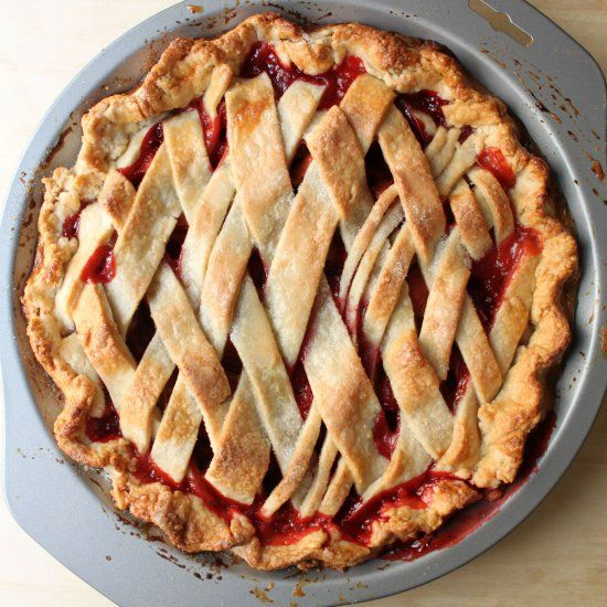 A strawberry rhubarb pie inspired by popular literature and with a magical little twist.