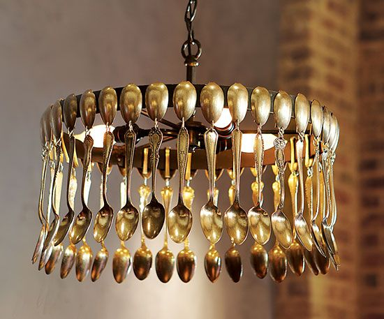 Sowing seeds spoon lamp pendant lights and lampshades for Spoon chandelier diy