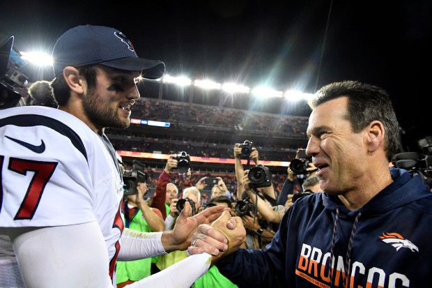 Monday Night Football: Texans vs. Broncos:     October 24, 2016  -  27-09, Broncos  -      Houston Texans quarterback Brock Osweiler (17) meets with Denver Broncos head coach Gary Kubiak after the game October 24, 2016 at Sports Authority Field at Mile High Stadium. The Broncos defeated the Texans 27-9. John Leyba, The Denver Post