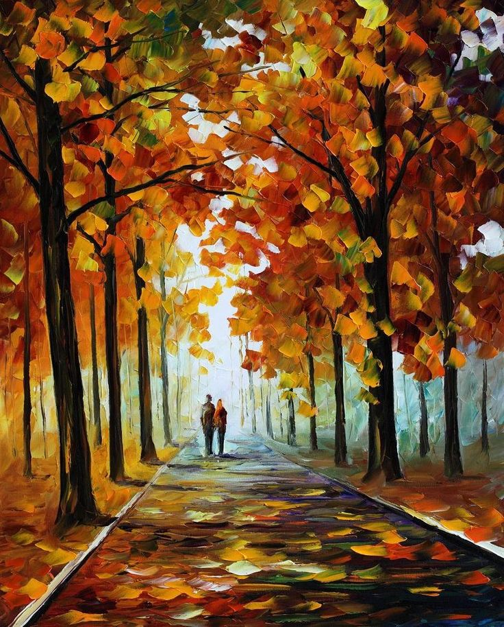 Bronze Fall Palette Knife Oil Painting On Canvas