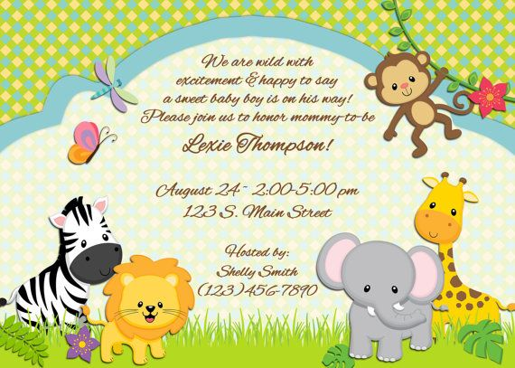 jungle animal themed baby shower invitation or birth announcement -  Night Owl Custom Design, $15.00