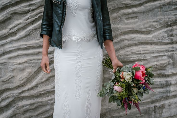 Lauren wearing Ffrog separates from Rachel Burgess Bridal Boutique and White Stone Bridal head piece. Bouquet by Sweet Peony