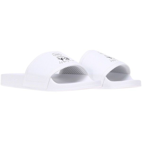 Adilette Rubber Sandals (395 PEN) ❤ liked on Polyvore featuring shoes, sandals, white, y3 shoes, white sandals, rubber sole shoes, y3 sandals and rubber shoes
