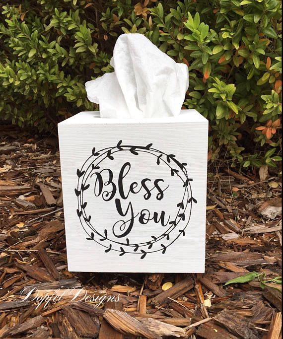 Farmhouse Style Wooden Tissue Box Cover Bless You