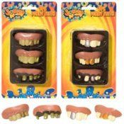 FUNNY TEETH 3 Party Favors Pirates Costume Halloween- DESIGNS MAYVARY SLIGHTLY by AM INC. $5.24. AGES 4 +. GREAT FOR COSTUMES. SHPS FAST. FUNNY. This Pack of Funny Teeth Party Favors contains 3 sets of really ugly teeth!  Ages 4 and up.  Possible choking hazard-not intended for children under 3 years of age.  Can be used as Halloween costume accessories.  Also great as a Pirates Costume accessory.  Intended for young kids, but could be used to accessorize an adult costume...