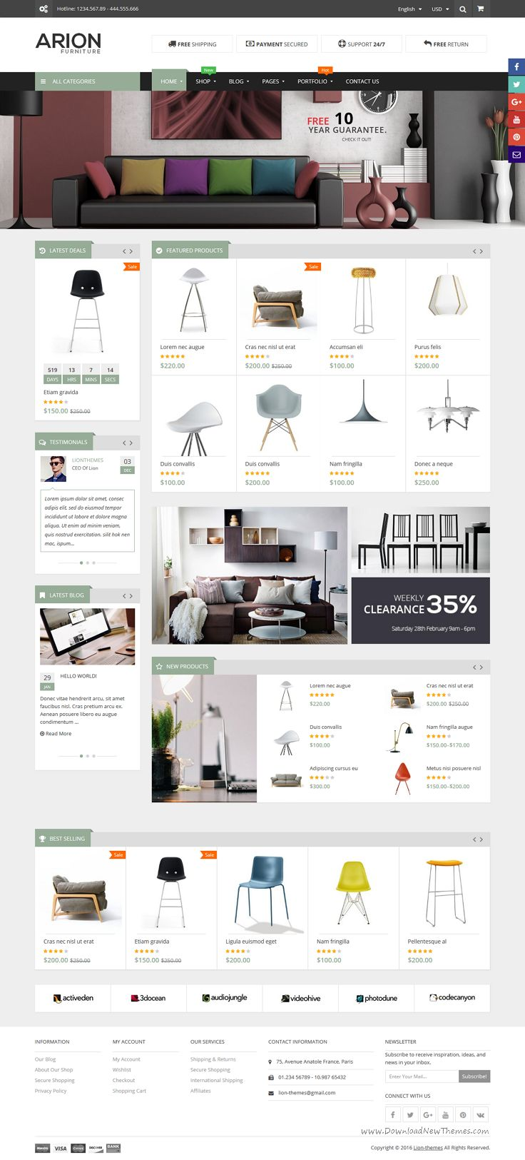 Arion is a clean and modern responsive #WordPress template for #decor #furniture shop eCommerce website with 3 unique homepage layouts download now➯ https://themeforest.net/item/arion-responsive-multipurpose-wordpress-theme/16461085?ref=Datasata