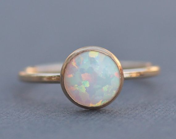 NEW Gold Filled White Opal Ring,Genuine White Opal Gemstone Ring,Small,Dainty,Petite,Stacking Bezel Ring,October Birthstone,Womens Opal Ring