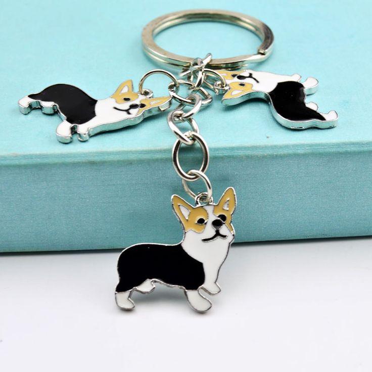 NEW  PET Key Chain Corgi Dog Figure Dogs Key Ring charm Cheap Wholesale Lovely Keychain Car Keyring Very Key gift Drop shipping
