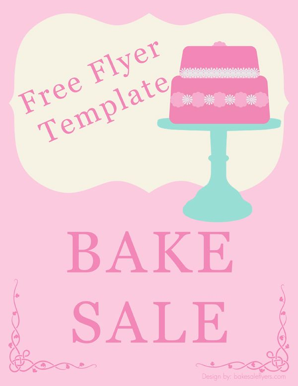 bake sale flyer template holidays happy days in 2018 pinterest