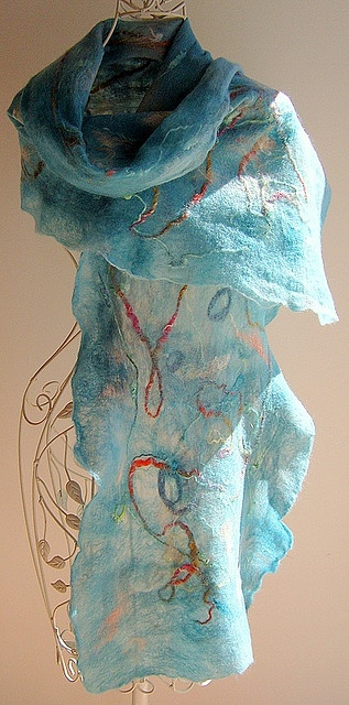 By ArcEnCielcreations. this is the technique that I started learning this weekend. Nuno felting. I love this scarf!