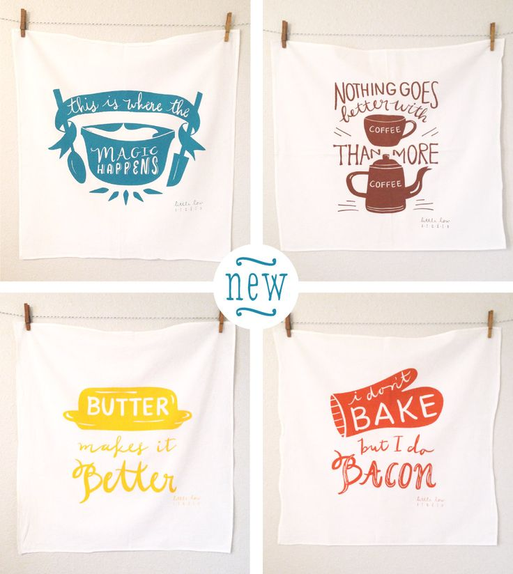 Butter Makes it Better large yellow white screen printed tea flour sack dish towel kitchen cooking baking foodie wedding birthday gift. $16.00, via Etsy.