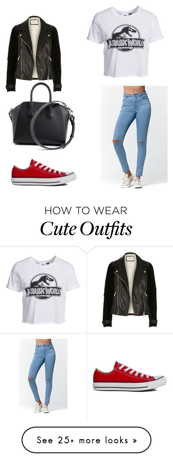 """Cute movie date outfit"" by girlimvabu on Polyvore featuring moda, Bullhead Denim Co., New Look, River Island, Converse i Givenchy"