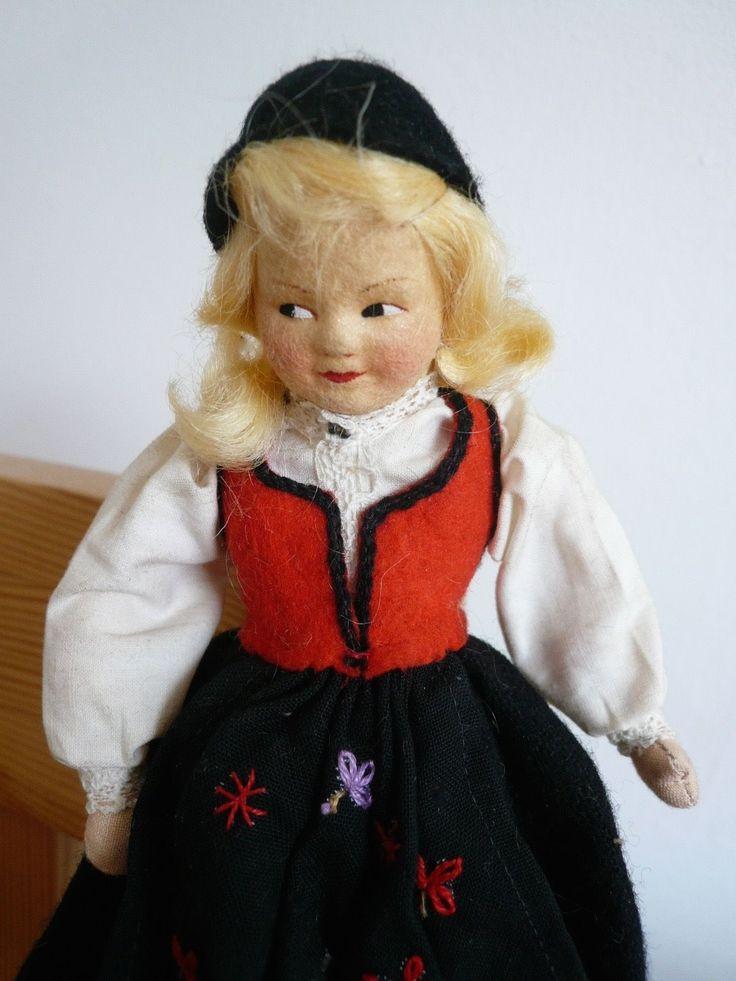 Vintage Ronnaug Petterssen Felt Norwegian National Costume Doll   eBay