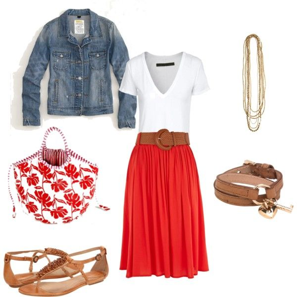 With boots for colder weather: Style, Jeans Jackets, Clothing, Denim Jackets, Summer Outfits, Winter Outfits, Outfits Ideas, Spring Outfits, Red Skirts