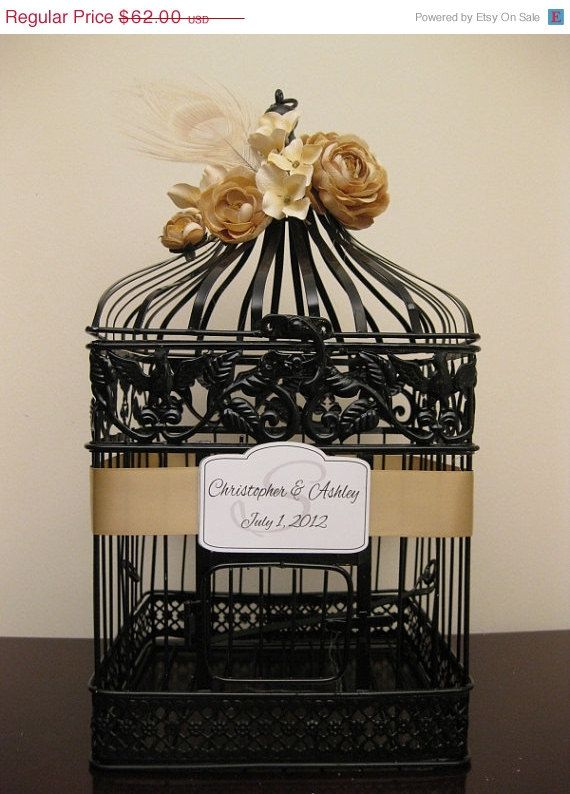 On Sale Birdcage Wedding Card Holder / Black Birdcage / Rustic / Romantic / Vintage Inspired / Fall Wedding Decor on Etsy, $58.90