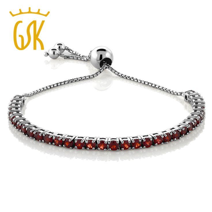 "Natural Garnet Adjustable Bracelet For Women Genuine 925 Sterling Silver Jewelry (4.50 ct; 9.25"") GemStoneKing"