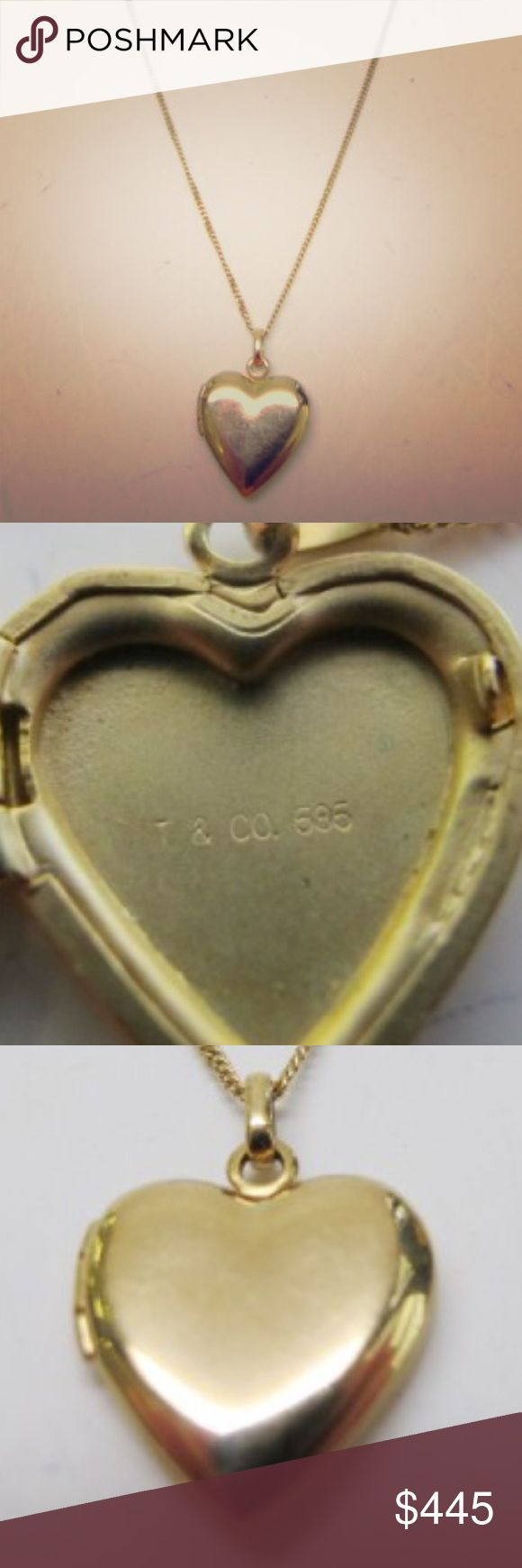 "Tiffany & Co 14 KT Gold Heart Locket on 16"" chain Available soon!!! Tiffany & Co 14 KT gold heart shaped locket, on a 16"" chain (also Tiffany). Will consider selling separately though. Will come with Tiffany box as well. More pictures will be posted soon  Tiffany & Co. Jewelry Necklaces"