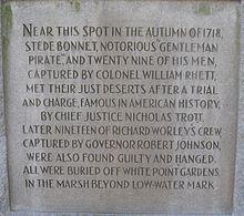 The Stede Bonnet monument Charleston, SC
