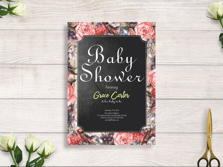 fall in love baby shower rustic chalkboard, rustic flower invite, invitation floral, floral rustic #BBS211 by BRIDETALKpaperie on Etsy