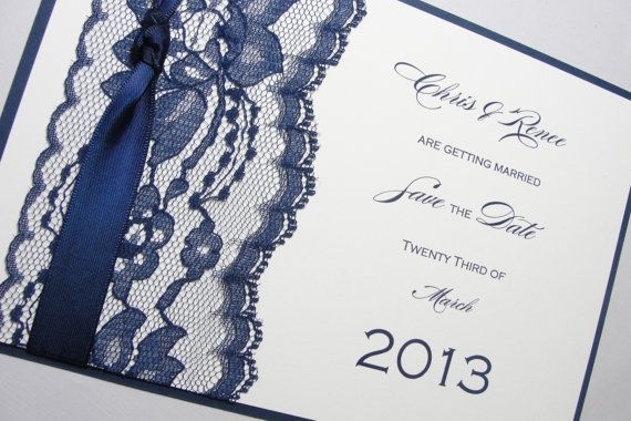 Lace Wrapped Wedding Save the Date Card, by Lavender Paperie on Etsy. $450.00, via Etsy.