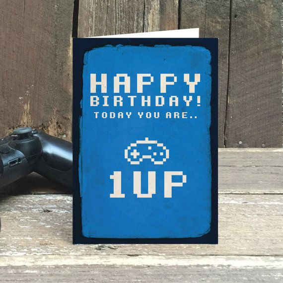 Happy Birthday Card - Eco friendly, Happy Birthday, Cards, Greeting Cards, 1up, Retro, Gamer, Gift Cards