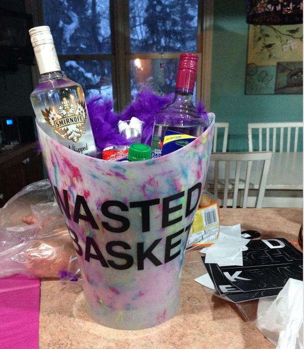 Wasted basket 21st birthday survival kit