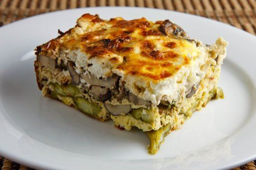 Asparagus, Mushroom, Goat Cheese Egg Breakfast Casserole. I has this at a friend's brunch...So Good!!!
