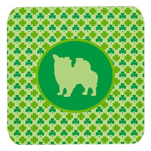 Set of 4 Chihuahua Longhair Lucky Shamrock Foam Coasters