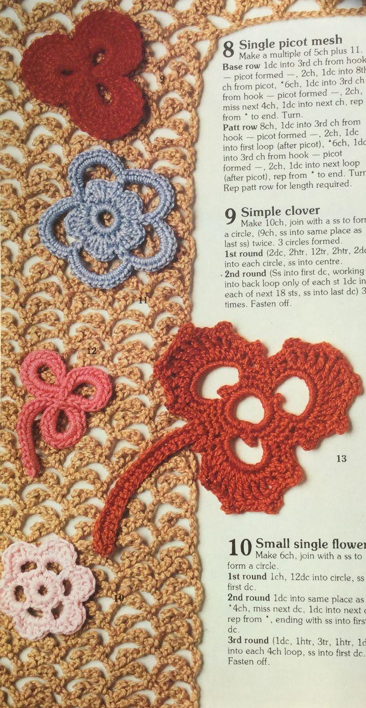 Irish crochet motifs.  Crochet stitch library.  Busy Needles part 42
