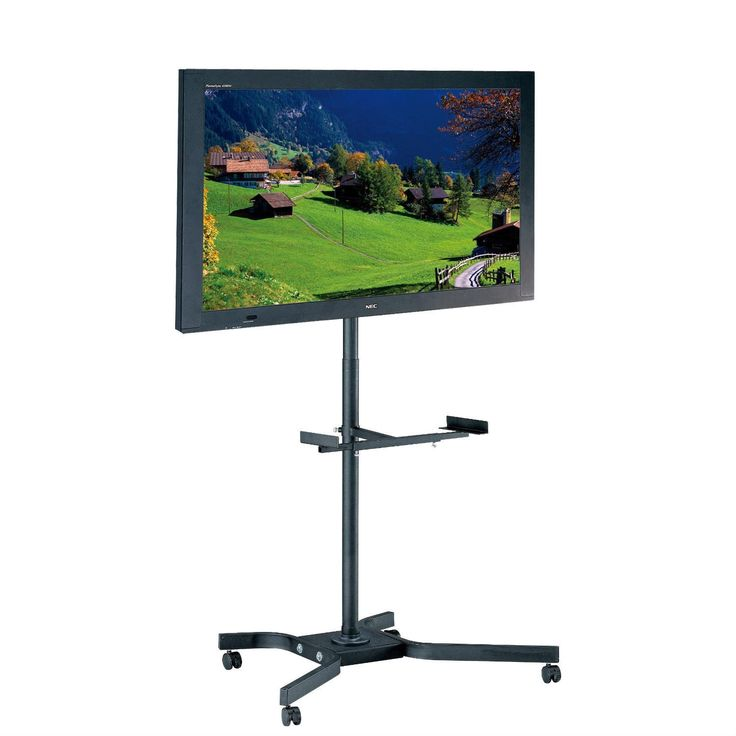 Mobile TV Cart Metal Stand for up to 46-inch TVs w/ Swivel Locking Casters Wheels