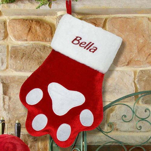 Embroidered Red Paw Christmas Stocking Show your pet how much they mean to your family by giving them their own personalized Christmas Stocking. This adorable Pet Christmas stocking is sure to make a