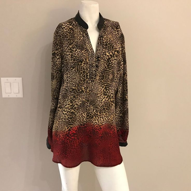 Red Ombre animal print blouse Conrad C Top Faux Leather collar Chiffon Size 14 #ConradC #Blouse #Career