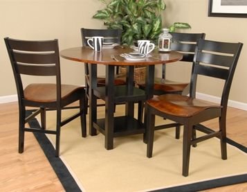 Ligo Black And Cherry Oak Dining Group Features A Black Table Base With A Cherry Top