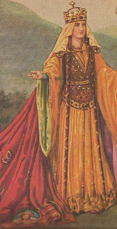 Example of the dress of a Norman noblewoman during the mid- and late 12th century. Oh, yeah. I need one of these. And yet, the headress looks so wrong.