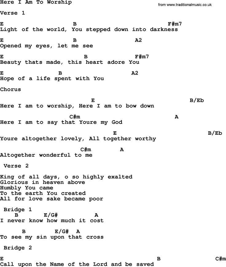 Worship Chords - Christian Lyrics & Chords Resources