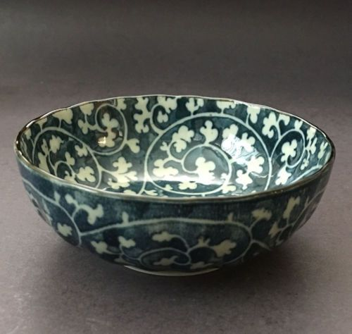 2-PCS-Japanese-4-25-034-Blue-Floral-Sushi-Soy-Sauce-Dipping-Dish-Bowl-Made-in-Japan