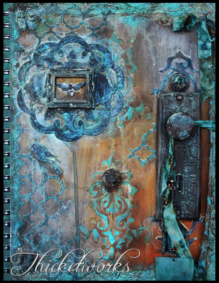 Mixed Media Art Journal Cover. Embossed Metal Tape, Apoxie Sculpt Castings, Joint Compound.  Gallery | Thicketworks: