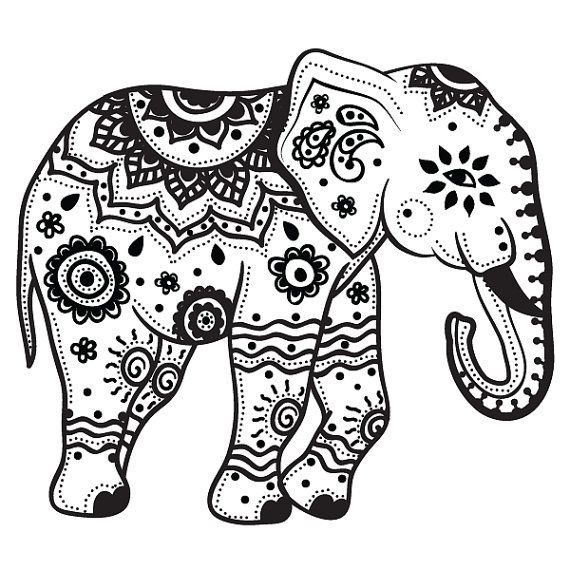 Coloring Page Elephant Design