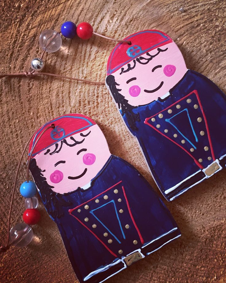 wooden Greek tsolias charm handpainted by Cotton Prince www.cottonprince.gr