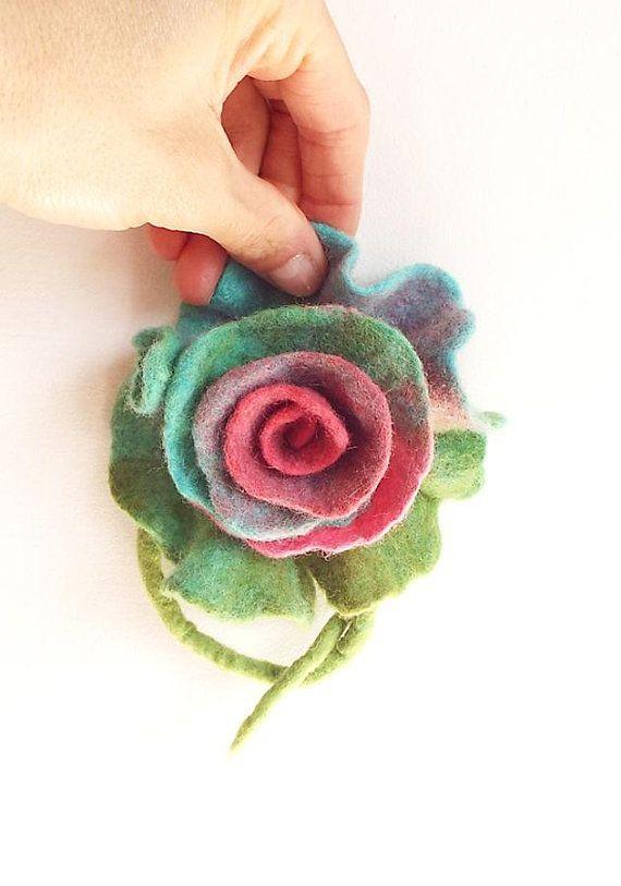 Felted Brooch Flower Felt Brooch Wool Brooch Multicolor Art