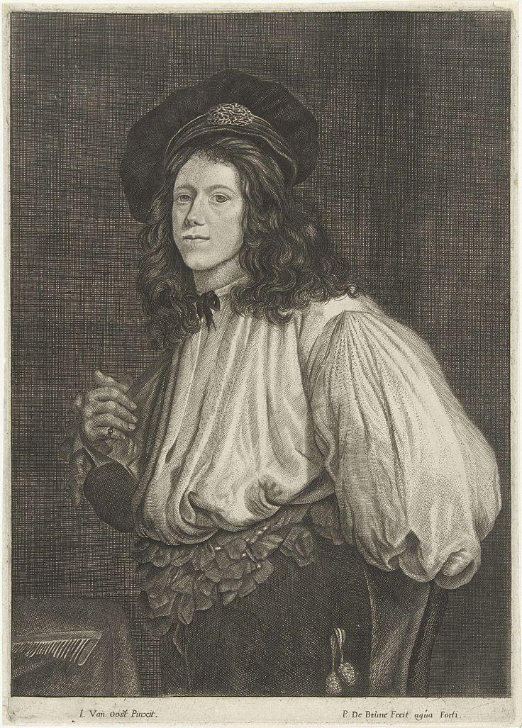 Pieter de Brune | Portret van acrobaat Jor. Niclays d'Herts, Pieter de Brune, 1650 - before 1667 | Portret ten halven lijve van de acrobaat Jor. Niclays d'Herts. Op zijn hoofd een fantasiebaret. Hij is bezig zijn innocent (kort wambuis) aan te trekken, waardoor zijn wijde, overbloezend hemd en de enorme hemdsmouwen te zien zijn. De band van zijn broek is met talloze lintlussen versierd.