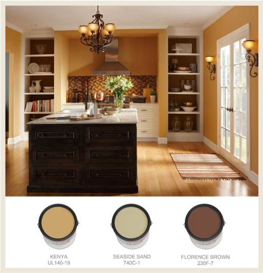 Kitchen Color Schemes: A #golden Hue On The Walls Casts A Mellow Glow, And