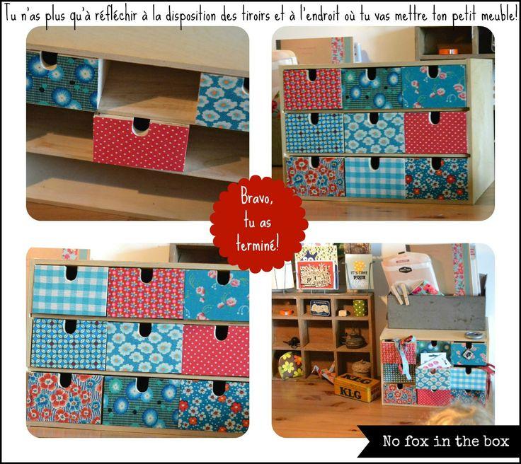 tuto pour recouvrir des tiroirs en bois de tissus bricolage pinterest collage. Black Bedroom Furniture Sets. Home Design Ideas