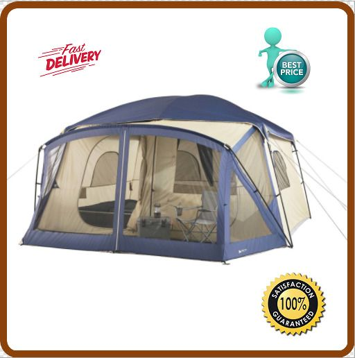 Ozark Trail 12-Person Cabin Tent with Screen Porch Blue Outdoor C&ing Hiking  sc 1 st  Pinterest & Best 25+ 12 person tent ideas on Pinterest | Winter tent camping ...