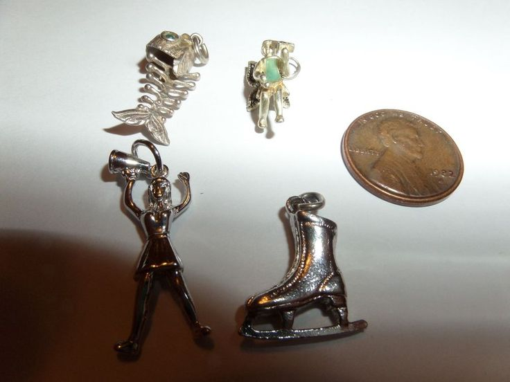 4 CHARMS FROM ESTATE AUCTION FISH FAIRY CHEERLEADER ICE SKATE #SUUNBRANDED