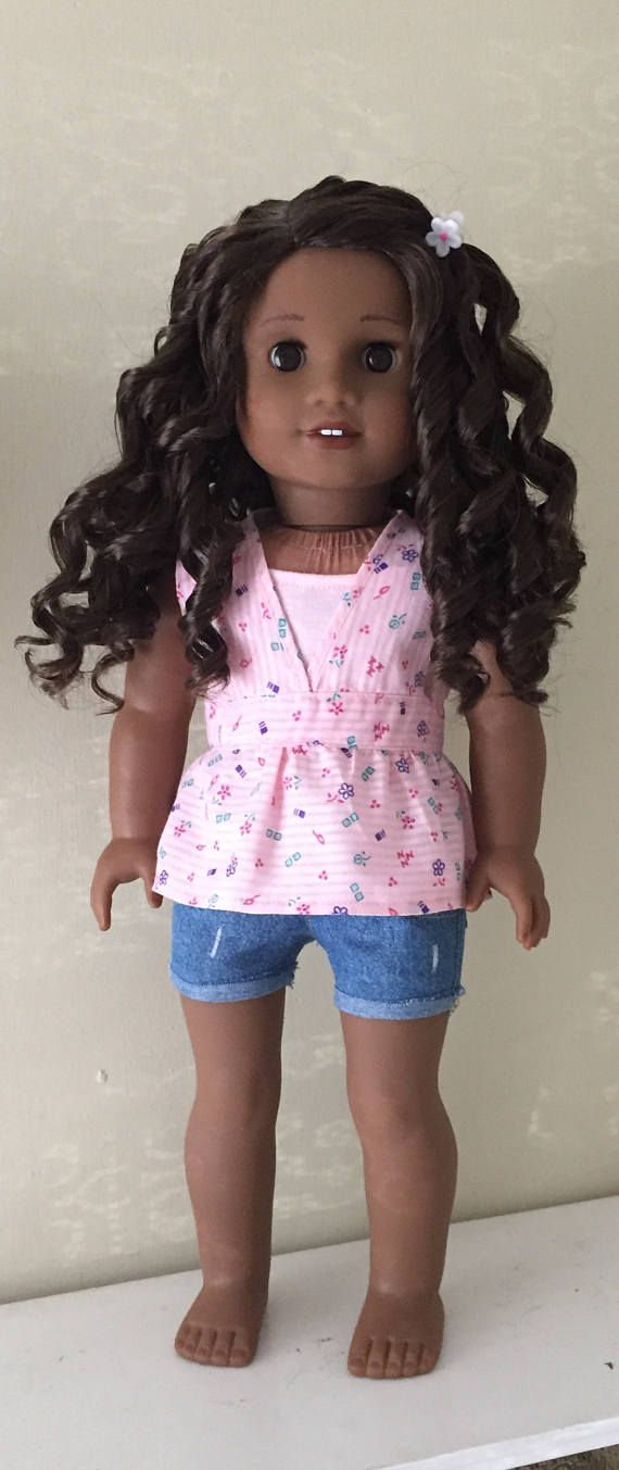 Pink top, lace trimmed camisole and denim shorts outfit by GumbieCatDollClothes on Etsy. Made using the Lightning Ridge Top, Summer In Paris Tops, and the Cut Off Shorts Patterns. Get them at https://www.pixiefaire.com/products/lightning-ridge-top-18-doll-clothes. https://www.pixiefaire.com/products/summer-in-paris-tops-18-dolls. https://www.pixiefaire.com/products/cut-off-shorts-18-doll-clothes. #pixiefaire #lightningridgetop #summerinparistops #cutoffshorts